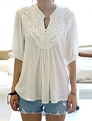 SEXY Women's Color Block White T-Shirts , Vintage / Sexy / Casual / Work Round Long Sleeve