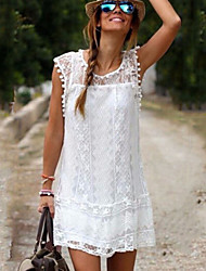 Women's Solid White Dress , Casual Round Neck Sleeveless