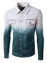 Men's Long Sleeve Jacket , Acrylic / Cotton Casual / Work / Formal Print
