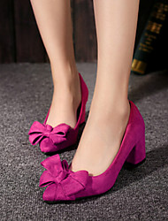 Women's Shoes Pump Fashion Bowknot Pointed Toe Chunky Heel Heels Heels Party & Evening / Dress Black / Pink