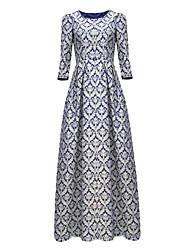 Women's Vintage Print Round Neck Flower Dress , Spandex / Polyester Maxi Long Sleeve Classic Sheath Midi Dress