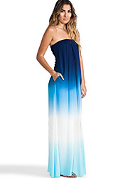 Women's Color Block Multi-color Dresses , Sexy / Party Off-the-shoulder Sleeveless