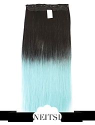 """Neitsi® 110g 22""""Full Head 5clips Kanekalon Synthetic Hair Pieces Clip In/on Straight Extensions T-Light Blue#"""