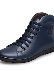 Men's Spring Fall Winter Riding Boots Leather Outdoor Office & Career Casual Work & Safety Flat Heel Lace-up Black Blue
