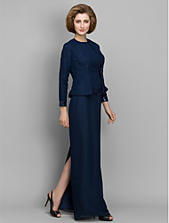 Sheath / Column Mother of the Bride Dress Floor-length Long Sleeve Chiffon with Sequins