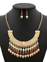 MPL European and American retro fringed coins Gem Necklace Earrings Set