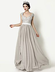 Formal Evening Dress A-line Queen Anne Floor-length Chiffon with Appliques / Lace / Side Draping / Sequins