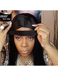Premierwigs grado 8a 8 '' - 24 '' pelucas delanteras luz remy yaki encajes base de seda indio con el pelo del bebé para las mujeres negras
