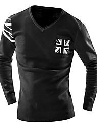 Herren Standard Pullover-Lässig/Alltäglich Einfach Einfarbig Blau Schwarz Grau V-Ausschnitt Langarm Wolle Herbst Winter Mittel