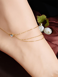 moda cristal cadeia borlas multilaye tornozeleira das mulheres