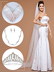 Wedding Accessories Set(Veil & Gloves & Headdress & Necklace & Earrings)
