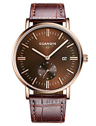 GUANQIN® Men Japanese Quartz Watch 200m Waterproof Big Dial Calendar Sapphire Crystal Steel and Leather Slim Wrist Watch Cool Watch With Watch Box