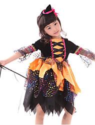 Roupas de Dança para Crianças Blusas Crianças Actuação Poliéster Plissado 2 Peças Amarelo Espetáculo Halloween Chapéu / Vestidos