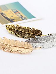 Women Feather Shape Metal Hairpin