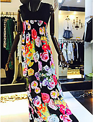 Women's Sexy Casual Print Cute Maxi Plus Sizes Inelastic Sleeveless Maxi Dress (Chiffon)