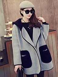 YUYI Women's Patchwork Gray Coats & Jackets , Casual Cowl Long Sleeve