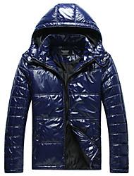 Lesmart Hombre Escote Chino Manga Larga Abajo y abrigos esquimales Azul / Negro - MDME10414
