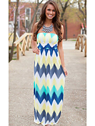 Women's Sexy Striped Loose Dress , Strapless Maxi Others