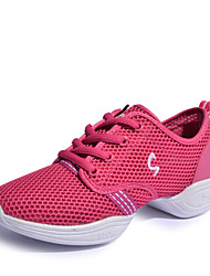 Non Customizable Women's Dance Shoes Belly / Ballet / Latin / Dance Sneakers Synthetic Chunky Heel Pink / Red / Gold