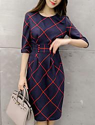 Women's Plaid / Color Block Bow Multi-color Dress , Casual / Plus Sizes Round Neck ½ Length Sleeve