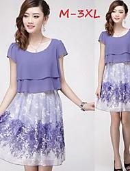 Women's Print Plus Size Dresses , Casual/Cute Round Short Sleeve