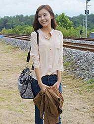 Women's Solid Green / Beige Shirt , Shirt Collar Long Sleeve