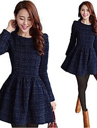 Zixin Women's Plaid Multi-color Dresses , Sexy / Casual / Work Round Long Sleeve