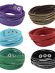 Fashion Several Colors Rhinestone Wide Leather Wrap Bracelet