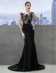 TS Couture Formal Evening Dress - Open Back Trumpet / Mermaid Scoop Court Train Jersey with Appliques