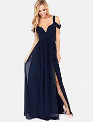 Women's Solid Color Blue / Red / Green Dresses , Sexy / Party Straps Maxi