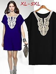 Women's Lace Blue/Black Plus Size  Dresses , Casual/Party Round Short Sleeve