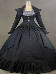 One-Piece/Dress Gothic Lolita Steampunk® / Victorian Cosplay Lolita Dress Black Solid Long Sleeve Long Length Dress For WomenCotton /