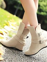 Women's Shoes Fleece Wedge Heel Wedges/Fashion Boots/Round Toe Boots Dress/Casual Black/Yellow/Beige