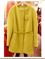 Women's Solid Pink / Yellow Coat , Casual Long Sleeve Wool / Cotton