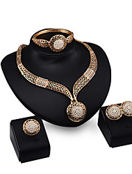 Hollow Luxury Bride Dinner Golden Printing Diamond  Jewelry Sets Necklace Earrings Rings Bracelets  Four-piece