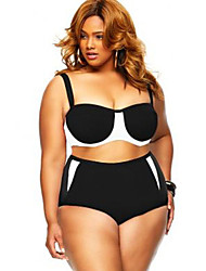 Women's Plus Size High Waist Color Block Women Bikini