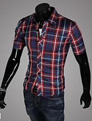 Men's Plaids Casual Shirt,Cotton Blend Short Sleeve Blue / Green / Red