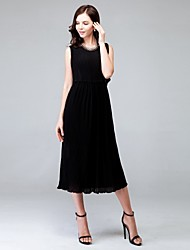 Women's Solid Dress Midi Polyester / Chiffon