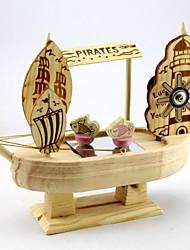 Retro Wooden Windmill Sailing Ship Model Music Box Music Box Creative Ornaments