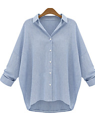 Tee-shirt Femme,Couleur Pleine Décontracté / Quotidien Grandes Tailles simple Automne Manches Longues Col de Chemise Coton Opaque