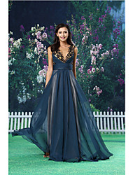 Formal Evening Dress - Dark Navy A-line Jewel Floor-length Chiffon / Satin