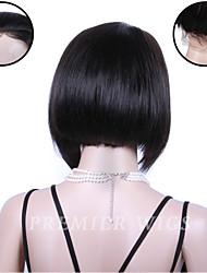Premierwigs de qualité 8a 8 '' bob vierge soie droite lacet avant de perruques chinois avec des cheveux de bébé pour les femmes noires