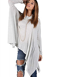 CEN     Women's Solid Color Gray T-Shirts , Casual High-Neck Long Sleeve