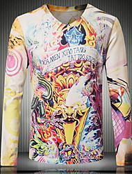 Men's V-neck Hot Fashion Casual Long Sleeved 3D Dragon Printing Tattoo T-shirt