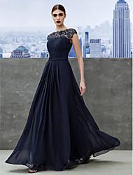 Formal Evening Dress - Dark Navy A-line Bateau Floor-length Georgette