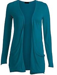 CEN     Women's Solid Color Blue / Black / Gray Coats & Jackets , Casual Asymmetrical Long Sleeve