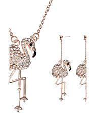 Women Wedding Bridal Party Dress Full Rhinestone Swan  Animal Shape Pendant Necklace Earrings Two-piece