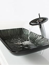 Contemporâneo 1.2*57*37*11 Rectângular material dissipador é Vidro TemperadoPia de Banheiro Torneira de Banheiro Anél de Instalação de