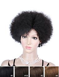 8 '' de color natural, pelucas rizadas cortas rizadas brasileñas virginales del pelo humano para las mujeres negras casquillo sin cola con