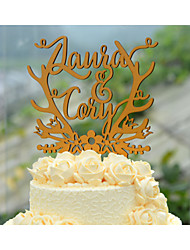 Personalized Linden Wood Wedding Cake Topper with Couples First Names